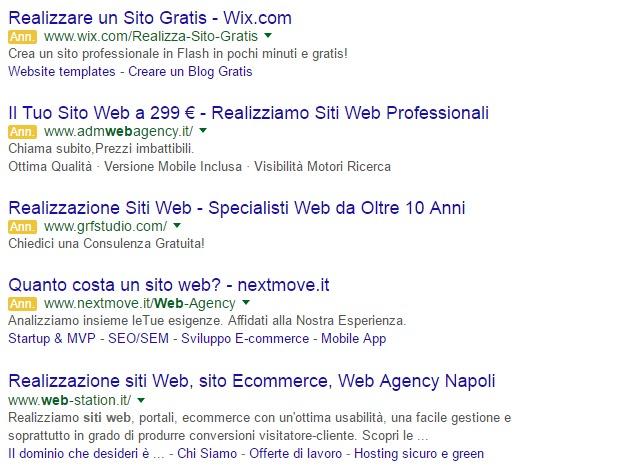 Esempio SERP Google