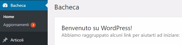 Notifica di aggiornamento WordPress
