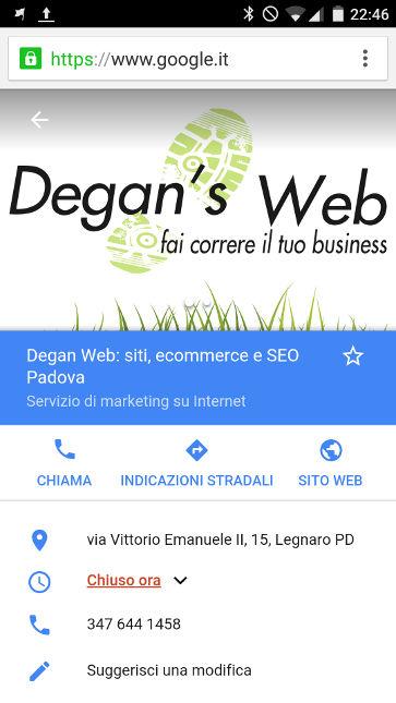 Dettaglio scheda Google My Business da smartphone