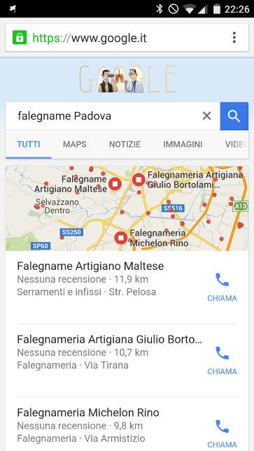 Prima posizione schede Google My Business sui risultati di ricerca da smartphone