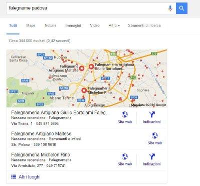 Prima posizione schede Google My Business sui risultati di ricerca da pc