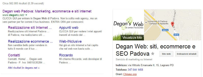 Scheda Google my Business ricerca per brand