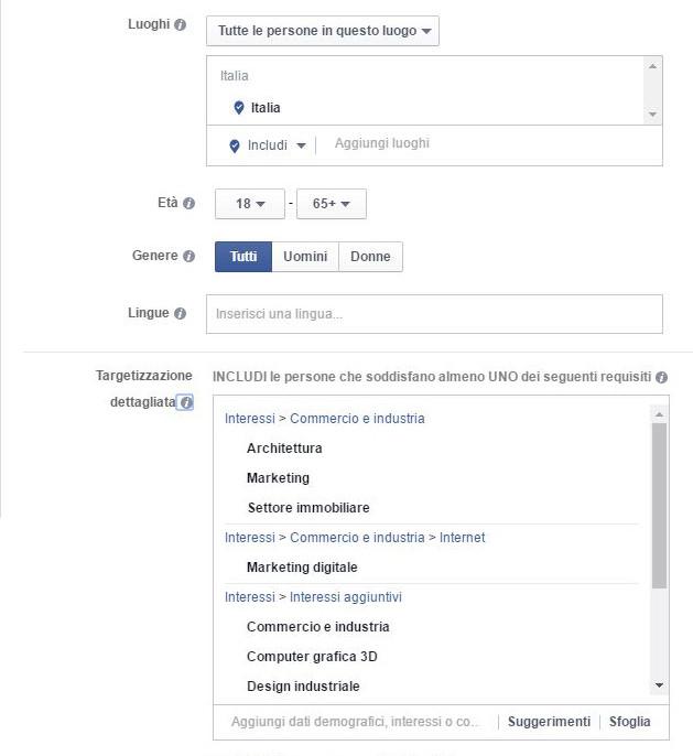 Targetizzazione campagna Facebook Ads